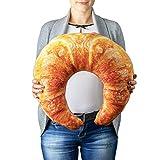 Froster Calefacción Croissant – Almohada gigante, con bolsa de calor de piedra de cerezo, almohada de cuello de viaje, cojín abrazable