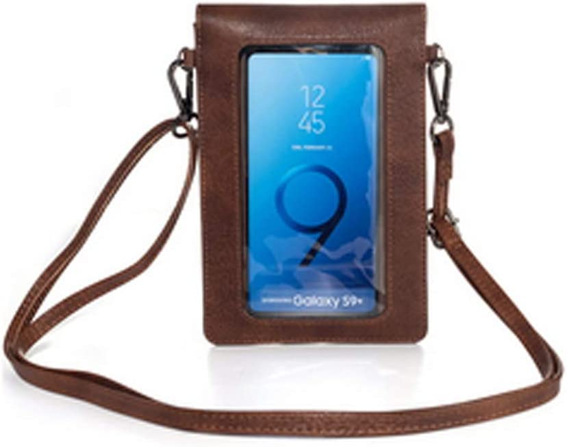 Touch Screen Purse with Clear Window Pocket Shoulder Strap, Girls Women Leather Crossbody Cell Phone Bag Wallet for Motorola Moto G8 Plus G7 G Power Z4 G6, LG V50 V40 G8 ThinQ,OnePlus 8 7 Pro (Coffee)