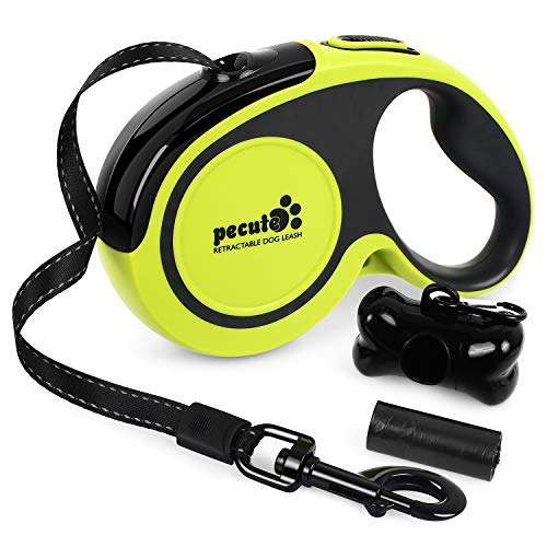 Pecute Retractable Dog Lead - Easy One Button Brake & Lock - Extends up to 16 Feet of Freedom and Protection - Great for Small to Large Dogs