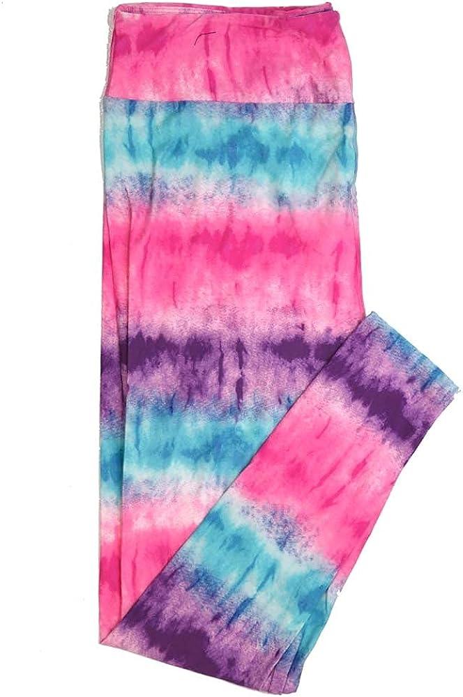 Lularoe TCTWO TC2 Pink Teal Purple Tye Dye Hombre Stripe Buttery Soft Womens Leggings fits Adults Sizes 18-26 TCTWO-9050-F-15
