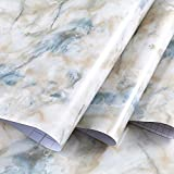 Amao Marble Self Adhesive Granite White/Blue Wallpaper Roll Kitchen Countertop Table Instant Update 15.7''x79''