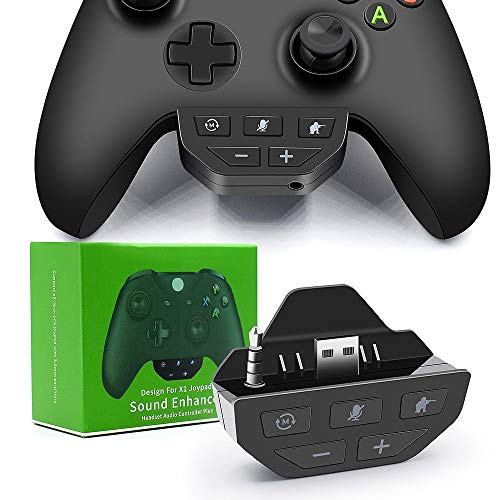 QUMOX Headset Kopfhörer 3.5mm Adapter Sound Enhancer für Xbox One Gamepad Controller Schwarz