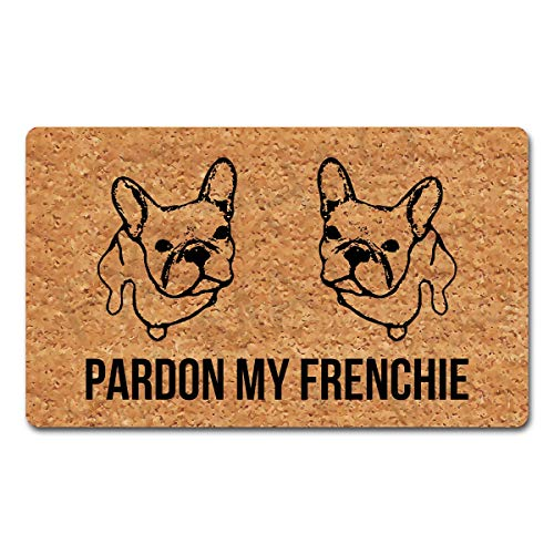Welcome Door Mat 15.7 X 23.5 inches Pardon My Frenchie Funny Doormat for Entrance Way Indoor Mats for Front Door Mat No Slip Kitchen Rugs and Mats