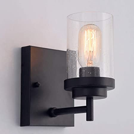PUMING 1 Light Black Wrought Iron Wall Sconce Hallway Light Fixture Vanity Lighting Fixtures with Clear Glass Shade