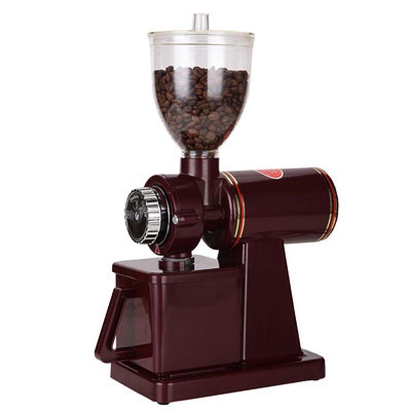 作り上げるツイン適性HONFAM 電動コーヒーグラインダー コーヒーミル 粗さ調節可能 110V (レッド)