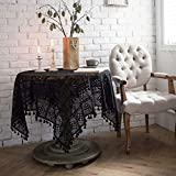 YQ Park Vintage Handmade Crochet Tablecloth Decorative Macrame Lace Table Cover Layer for Kitchen Dinning Pub Bedside Tabletop Sheet Decoration(Black, Rectangle/Oblong, 33x33 Inch)
