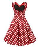 Vianla Women's 1950s V Neck Vintage Cut Out Retro Party Cocktail Dresses Red Dot XS