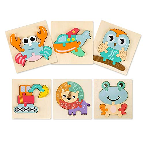 Nice2you Holzpuzzles ab 1 2 3 Jahre, 6 Pack Steckpuzzle für Kinder, Buntes Tier Montessori Spielzeug, Frühes Lernen Vorschule Pädagogisches Kleinkindspielzeug