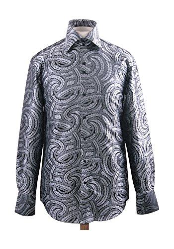 Men's Fashion Forward Formal Shirt - Black/White L