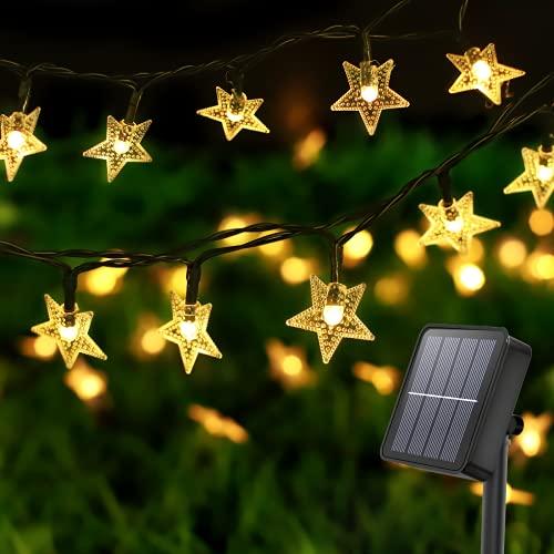 Litogo Guirnaldas Luces Exterior Solar, 8 Modos Luces Solares Led Exterior Jardin 12m 120 Led Guirnaldas Luces Estrellas Solares, Cadena de Luces Decoracion para Navidad, Fiesta, Boda, Patio, Jardin