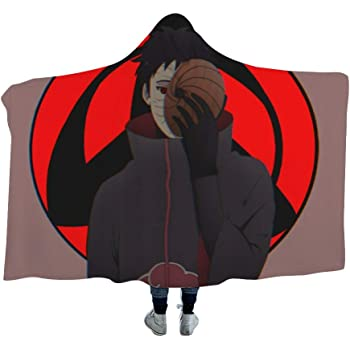 7 MEW Anime Naruto Hooded Blanket,Naruto Akatsuki Logo Kids,39x51 inch ,Fleece Flannel Wearable Super Soft Warm Throw Blanket,for Winter Sofa School Home Travel Picnic Carrying