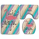Flamingo Stand Tall Darling Fashion Bath Mat Set Accesorios de baño Alfombra de baño Set 3 piezas