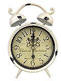 GMMH Tischuhr Nostalgie Antik Vintage Retro Metall Standuhr Dekowecker Uhr in Wecker Design (Creme 54-11)