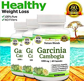 3 Garcinia Cambogia Extract - Weight Loss Supplement - Appetite Suppressant - 1000 mg - Organic - 85% HCA - GMO and Gluten Free - 100% Pure - 180 Capsules - 3 Month Supply - Free Shipping