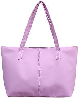 Womens Ladies Leather Shoulder Bag Celebrity Tote Purse Travel Large Bag (Color : Purple)