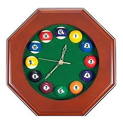 Wall Clocks decorative wall clocks digital Octagonal Wood Billiards Quartz Wall Clock with Pool Ball Numbers wall clocks decorative