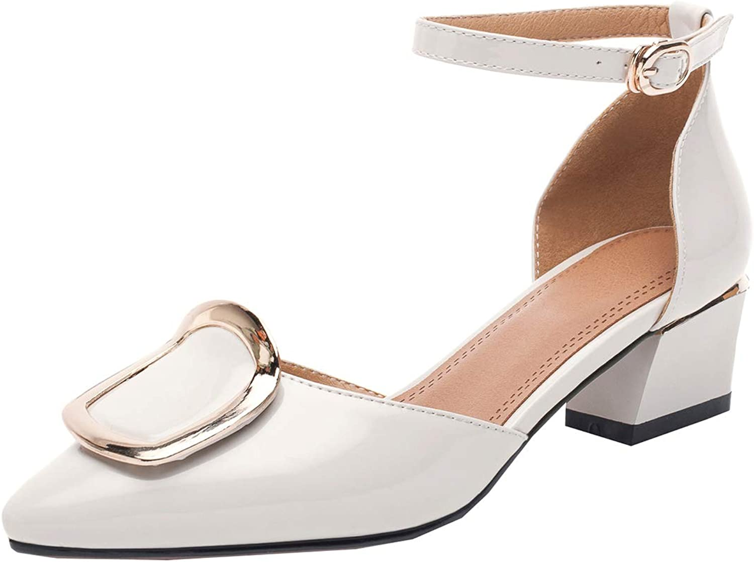 Artfaerie Womens Pointed Toe Ankle Strap Chunky Heel D'Orsay Pumps Patent Leather Court shoes
