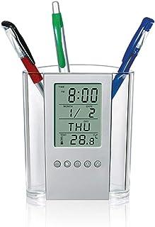 Goolsky Pen Pencil Holder Digital LCD Desk Alarm Clock Pen Holder Calendar Timer Temperature Desktop Electronic Clock Office