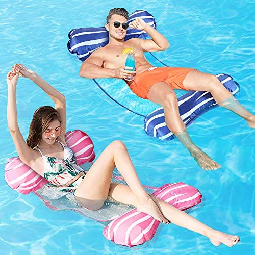 Fostoy Hamaca Piscina, Hamaca Flotante de Agua 4 en 1, Juego de 2 Tumbona Piscina Plegable Colchoneta Hinchable Flotador Piscina Playa para Adultos, 112 x 62cm