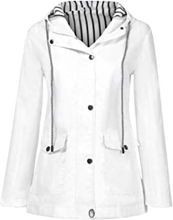 Macondoo Womens Windbreaker Lightweigth Outdoor Hooded Jacket Trench Coat