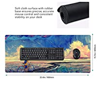 油絵 学生 雲 マウスパッド ゲーミングマウスパット デスクマット キーボードパッド 滑り止め 高級感 耐久性が良い デスクマットメ キーボード パッド おしゃれ ゲーム用(90cm*40cm)