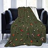 AOOEDM Blanket Manta Estampada Verde con diseño de Setas, Ligera, súper Suave, de Microfibra, Mantas para sofá, Cama, Sala de Estar, sofá, Silla 50 'X40'