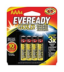 Eveready Gold Alkaline Batteries AAA, 4-Count