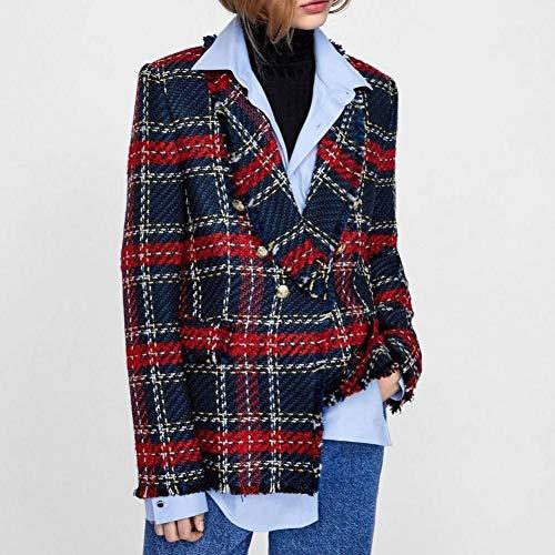 NSWTKL dames jeansjas vintage patchwork plaid tweed jas borst mantel dames lange mouwen mantel