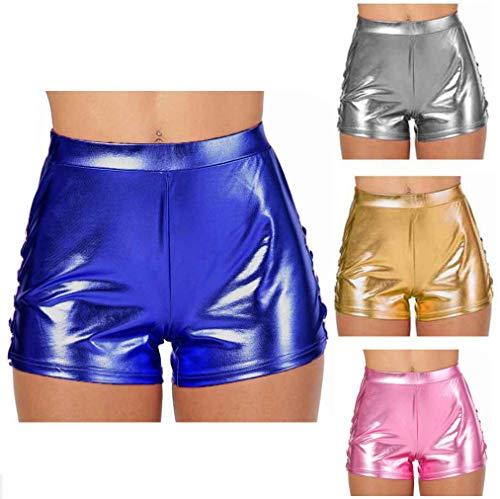 Vrouwen Summer Glanzend Metallic Booty Shorts Fashion Hoge Taille Hot Pants Sexy Dancing Legging Straat Shorts Gym Yoga Sports Zwembroek