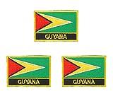 Aufnäher mit Guyana-Flagge, bestickt, 3 Stück