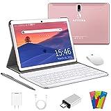 Tablet 10 Pulgadas 4G LTE WiFi, Android 10.0 Ultrar-Rápido Tablets 4GB RAM + 64GB ROM / 128GB Escalable, Laptop Convertible de Oficina-Quad Core, Dual SIM 8000mAh|Bluetooth|GPS|OTG|Type-C (Rosa)