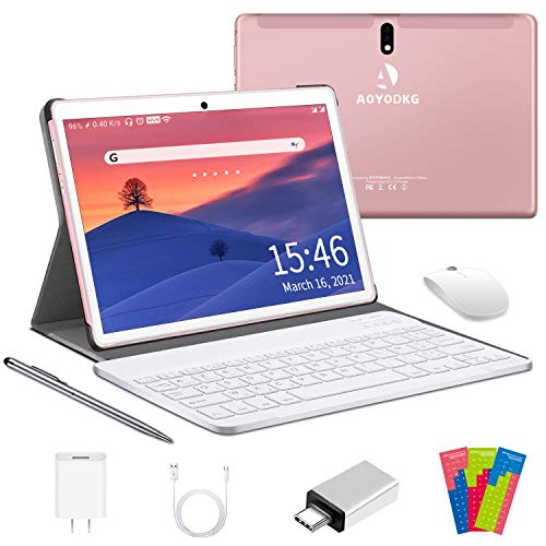 Tablet 10 Pollici 4G LTE, 4-core 4GB RAM e 64GB ROM/128 GB Espandibile Android 10.0, Supporto Dual SIM |WIFI|GPS|Bluetooth |OTG |Netflix|Type-C|Tablet con Wifi Offerte -Certificato Google GMS (Rosa)