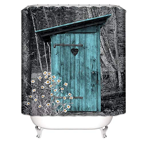 "Joyloce Teal Rural Daisy Rustic Farm Historical Country Durable Fabric Shower Curtain Set with Hooks Home Decor Bath Curtain Modern Bathroom Accessories 72"" X 72"""