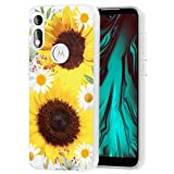 Ueokeird Case for Moto E 2020, Motorola E 2020 Case for Girls, Clear Floral Pattern Soft Flexible TPU Phone Protective Shockproof Case Cover for Motorola Moto E 2020 (Sunflower)