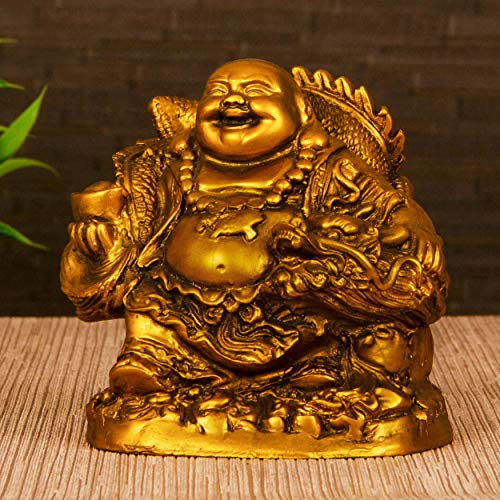 TIED RIBBONS Feng Shui Laughing Buddha for Money Wealth Prosperity and Good Luck (12 cm X 11.5 cm) - Decorative Idol Statue Sculpture for Home Decoration