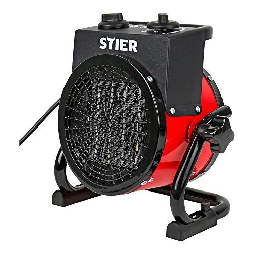 STIER Basic Keramik-Heizlüfter 2,0 kW, Elektroheizung 2000W, Baustellen-Heizstrahler für Innen- und Außeneinsatz, stufenloses Thermostat mit Überhitzungsschutz
