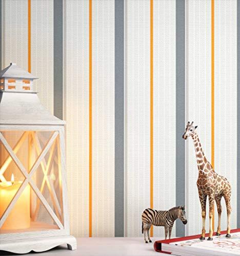 NEWROOM Kindertapete Grau Streifen Linien Modern Vliestapete Orange Vlies Streifentapete Landhaus