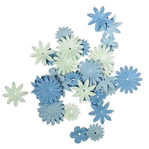 Rayher Hobby 7895508 Papier-Blütenmischung, versch. Größen, 1,5 - 2,5 cm, 4 Sorten, SB-Tube 36 Stück, Blautöne, Streublüten, Blütenköpfe, Streudeko Blumen