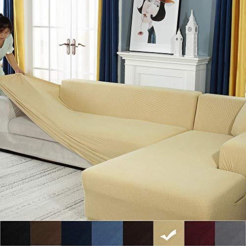 YJOY Sofabezug Sofaüberwürfe für L-Form Sofa elastische Stretch Sofabezug,Set für 1-4 Sitzer Sofa(Wenn Ihr Sofa EIN L-förmiges Ecksofa ist, müssen Sie Zwei kaufen)