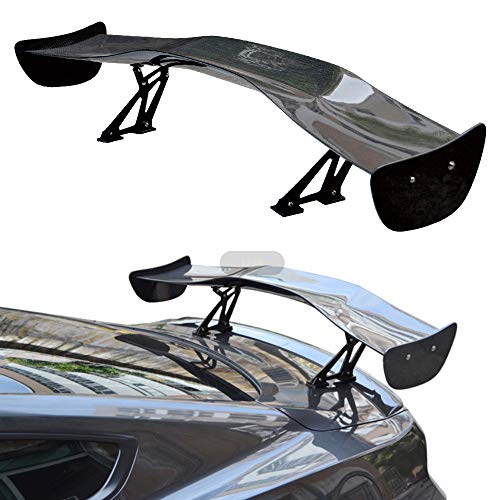 ANDLEWIDE Auto Accessories Body Parts Universal Black Carbon Fibre Universal Rear Spoiler Wing for Car fits: All Vehicle