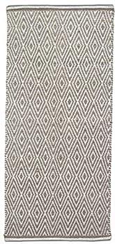 Chardin home 100% Cotton Diamond 2x5 Runner Rug Fully Reversible Machine Washable Greyish Beige and White