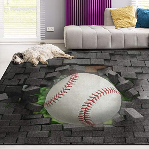 Naanle Sport Area Rug 4'x6', Baseball Polyester Area Rug Mat for Living Dining Dorm Room Bedroom Home Decorative
