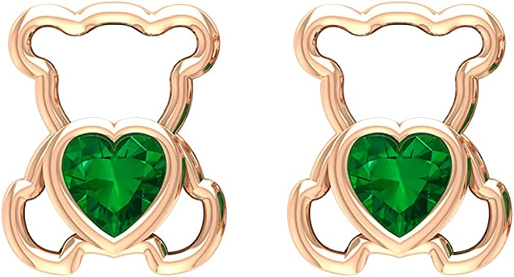 1/2 CT Teddy Bear Stud Earrings with Created Emerald (4 MM Heart Cut Created Emerald),14K Solid Gold,Lab Created Emerald