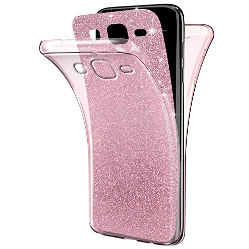 JAWSEU Etui Galaxy J7 Prime,Coque Galaxy On7 2016 Transparent Silicone Gel Ultra Mince TPU 360 Degr/és Full Body Protection Brillant Bling Glitter Paillette Flexible Silicone Case Coque Housse Etui,Or