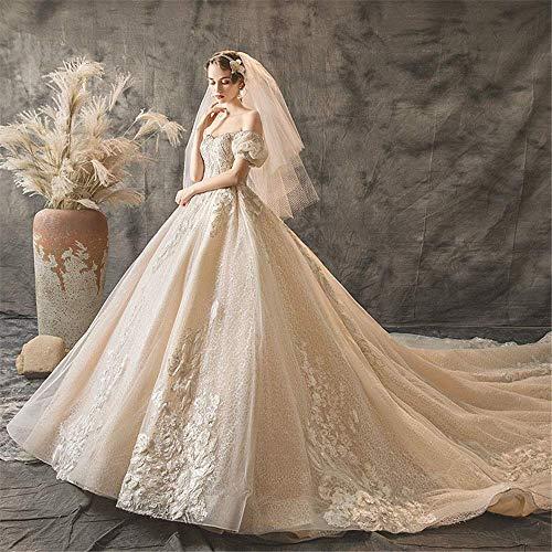 Inicio Accesorios Elegante vestido sencillo Vestido largo de gasa hasta el suelo para mujer Vestido largo de encaje con cuello en v Vestidos de novia brillantes Múltiples tamaños Vestido de encaje