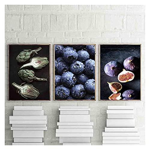 CCZWVH Decoracion Moderno Ktichen Poster Artíchakes Lienzo Impresión de la Pared Arte Pósters y Estampados Blueberry Wall Imágenes para la Sala de Estar 16x24in x3 Sin Marco