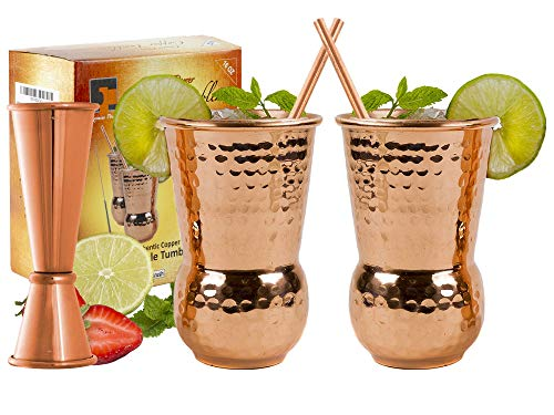 EXTRA THICK HEFTY- set of 2 | Bonus Jigger 2 Straws Recipe Book| 20 Gauge Copper Mugs - Eximius Power | 100% Pure Food Safe Copper Drinking Cups |16 oz Hammered Design Handcrafted Tumblers