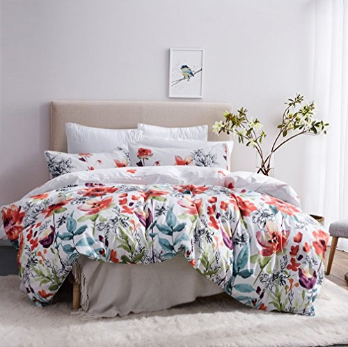 Leadtimes Duvet Cover Queen Floral Bedding Comforter Cover with 1 Boho Duvet Cover and 2 Pillowcases (Queen, Style2)