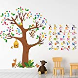3 Sheets Animal Alphabet and Numbers Tree Wall Decals ABC Letters and Birds Numbers Peel and Stick Wall Stickers for Kids Bedroom Living Room Classroom Decorations