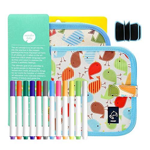 Keyzone - Tablero de dibujo portátil para niños, suave libro de preescolar, juguete con lápices de colores, 14 páginas + 12 lápices